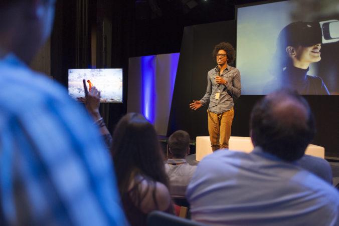 Inspirational speaker on stage